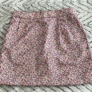 JCrew Pink and Gold Jacquard Mini Skirt (Size 4)